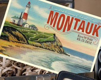 Vintage Travel Postcard Save the Date (Montauk, NY) - Design Fee