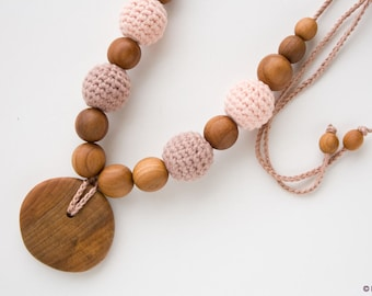 ORGANIC COTTON Nursing Necklace - Milk Chocolate, apple wood - New Mom Necklace, Teething Necklace - NB09