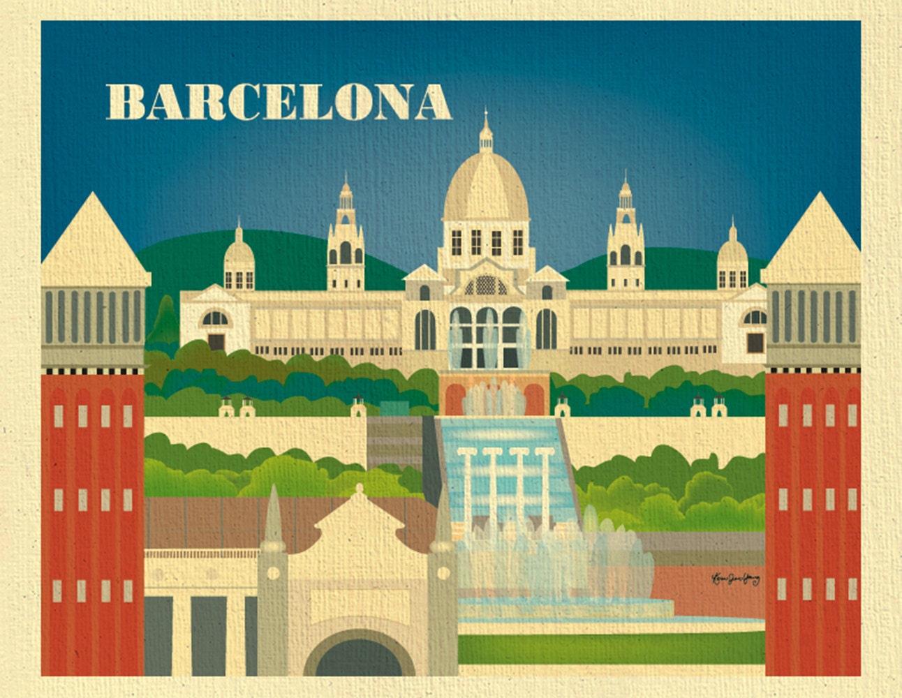 Barcelona Skyline art print Spain Horizontal Print