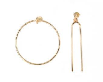Asymmetrical Gold Geometric Link Earrings | Hoop and Line Dangle Earrings | 14k Goldfill Artistic Minimal Hoops
