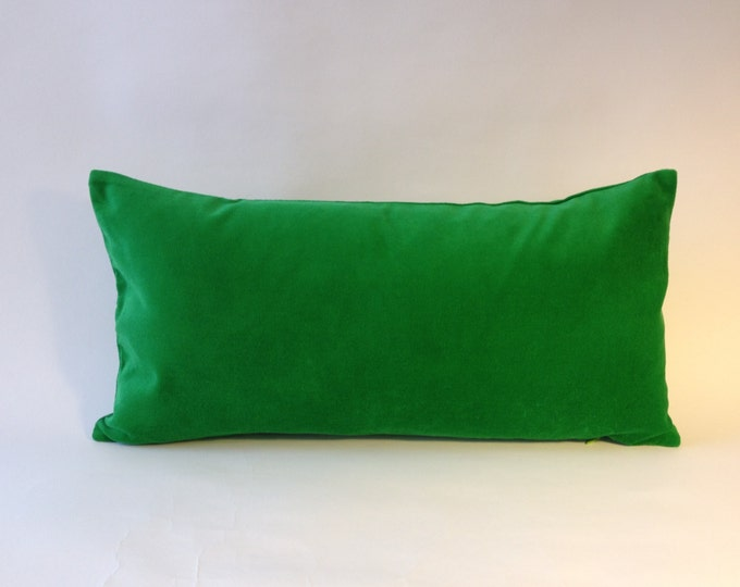 Kelly Green Cotton Velvet Pillow Cover - Decorative Accent Bolster Pillows -Invisible Zipper Closure -Knife Or Piping Edge -16x16 to 26x26-