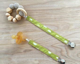 Universal Half Moons in Lime Pacifier Clip