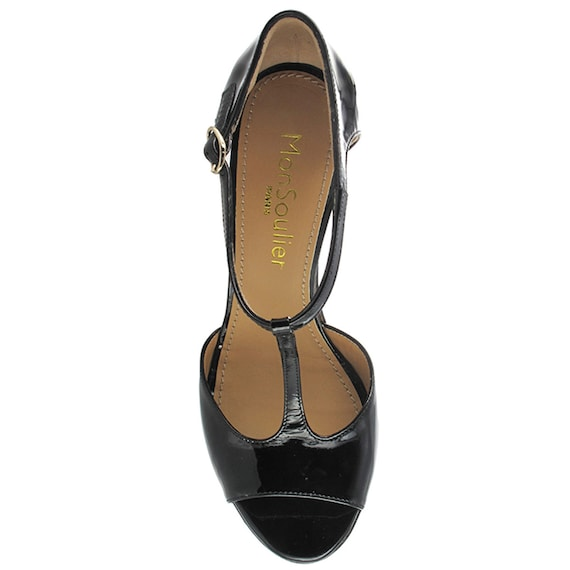 sandal open shoes Sydney Italy leather Women in Women Black cocktail leather sandal strap T toe Handmade black Black pump patent 7qxUS5w1