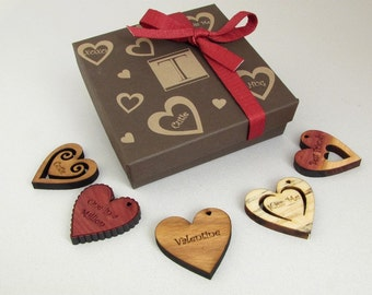 Clearance! Traditional Valentine Message Hearts - Laser Engraved Wooden Hearts - (5) Set