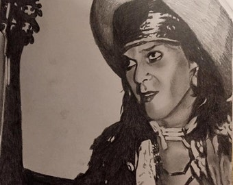 Pencil Portrait print of Andy McCoy of Hanoi Rocks