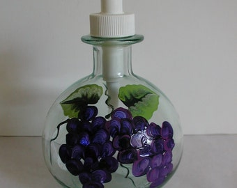 Handpainted Grapes Round Glass Pump Bottle