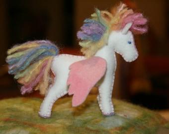 Felt Rainbow Pegasus Foal Eco Friendly Ready to Ship