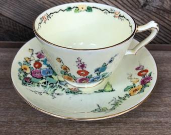 Crown Staffordshire Floral Teacup & Saucer