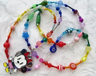 RAINBOW MINNIE Beaded ID Lanyard- A Kaleidoscope of Beads- Lampwork, Millefiore, Pearls, Crystals, and Minnie Mouse Charm (Comfort Created)
