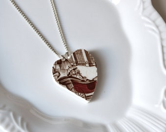 Recycled China Heart Pendant -Carriage Ride - Portion of Proceeds to American Heart Association