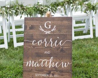 Welcome Wedding Sign, Custom Wedding Sign, Custom Wedding Date and Names, Rustic Wood Wedding Sign - Sophia Collection
