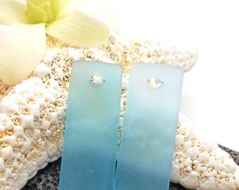 Matched Pair of Beach Glass Pendants or Earrings - Beach Wedding, Beach, Vacation, Cruise, Ocean, Hawaii, Sea Glass, Beach Glass, Pendant