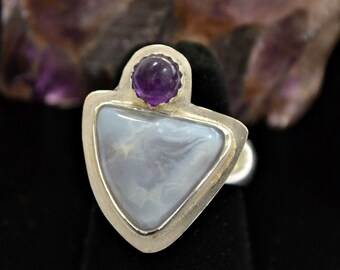 sterling silver Ring. African Blue lace and amethyst ring size 7. Violets are Blue