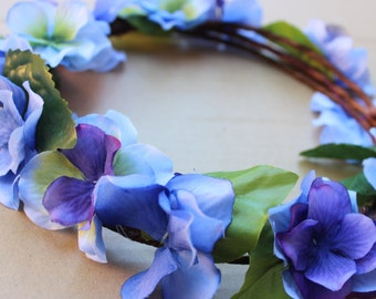Blue and purple floral crown