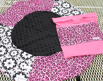 Travel Play Mat pink leopard print baby tummy time baby shower gift