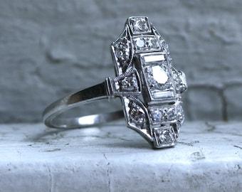 RESERVED - Vintage Filigree Platinum Diamond Engagement Ring - 0.73ct.