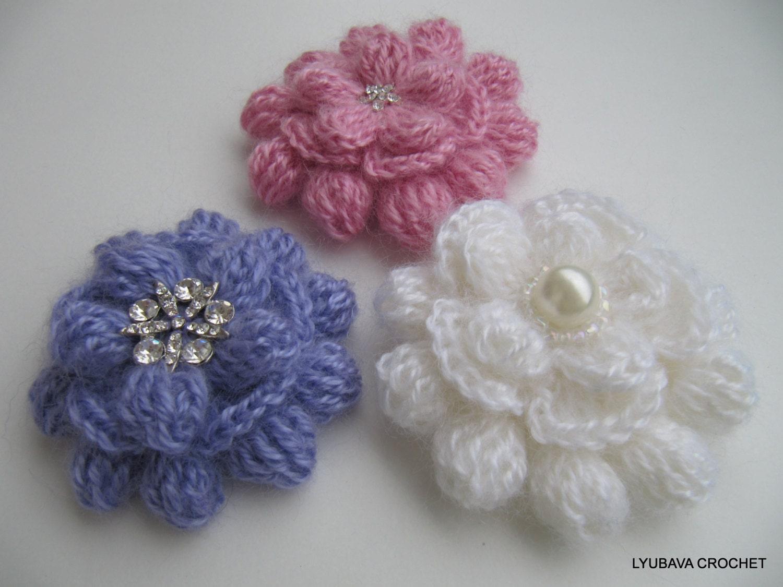 Crochet flower pattern crochet brooch pattern mohair flower zoom izmirmasajfo Image collections