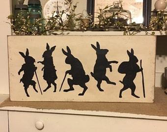 Vintage Rabbits, Vintage Decor, Primitive Decor, Easter Decoration, Primitive Decor, Rabbit Sign, Spring Decor