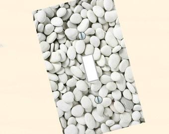 light switch plate, white mineral rocks, rock art, stone art, zen art, rocks art, light switch, white stones, wall art, Home Decor, USA made