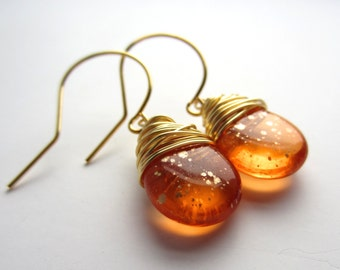 Orange Earrings Wire Wrapped Jewelry Handmade Boho Jewelry Czech Glass