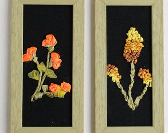 Set of 2 embroidered pictures with satin ribbons, framed embroidery, real handmade embroidery with ribbons, satin ribbons, framed ribbons