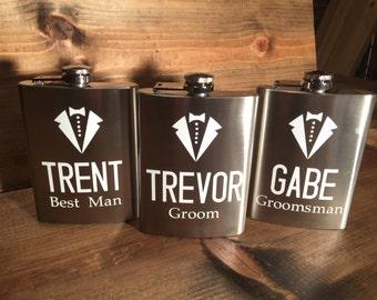 Groomsmen Personalized Custom flask wedding reception groom best man groomsmen wedding usher gifts