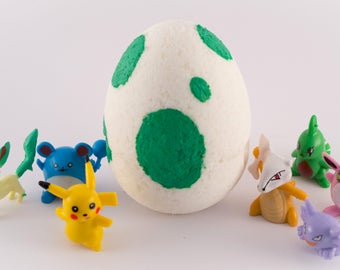Pokémon Egg Pokemon Go bath bomb with figurine inside