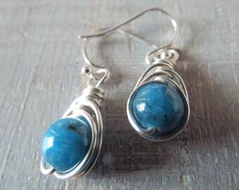 SALE! Apatite Earrings Blue Apatite Dangle Earrings Mothers Day Gift Sterling Silver Earrings  Wrapped Earrings Apatite Jewelry Blue Stone