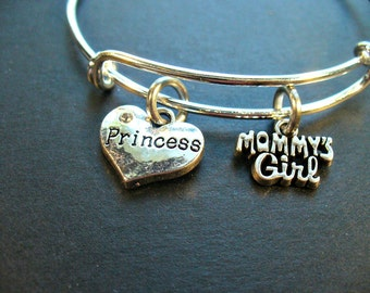 Mommy's Girl, Princess Heart, Sturdy, Adjustable, Stainless Steel Bangle Bracelet, Custom, Strong Wire, Daughter, Trendy Style, Gift For Her