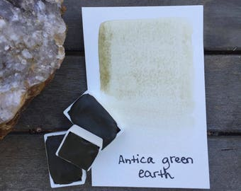 Antica Green Earth. Half or Full pan of handmade Antica Green Earth watercolor paint
