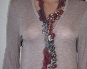 scarf freeform crochet necklace scarf, multi fiber necklace, multi color scarf, unique scarf, fiber necklace, scarf