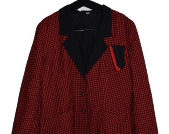 BL_001) Vintage 80 's red checkered blazer