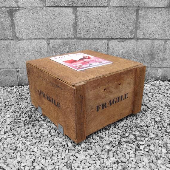 Fragile Crate Box Coffee Table Magazine Storage
