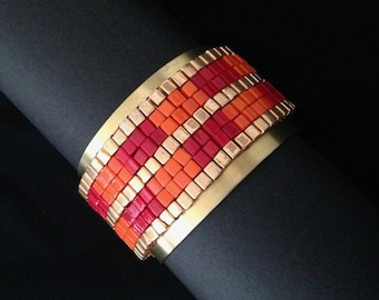 Gold and Orange and Gold Square beaded hand loomed Brass Cuff bracelet