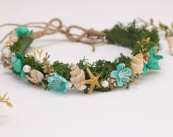 Tie Back shell and flower halo made to match Well Dressed Wolf Teal Josie and Sea Stars dress - Real shells, starfish, pearls & silk flowers