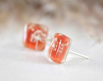 Orange dandelion earrings, Fused glass earrings, Sterling silver studs, Wish jewelry, Ready to ship, Eco friendly jewelry