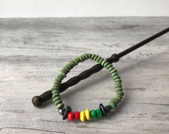 ANSWALD BRACELET Rasta red yellow green, wood beads and porcelain beads