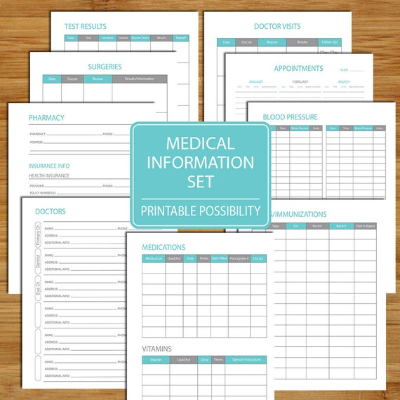 Medical Information Packet Printable Set To Track Your