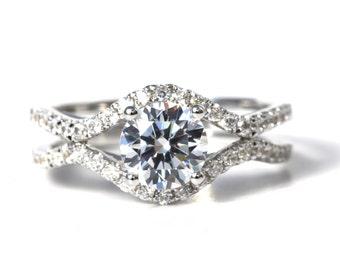 CUSTOM Made For YOU - 1.45 carat Round - Diamond Engagement Ring 14K white gold - Split Open Double Shank - Weddings- Luxury- Brides - Bp028