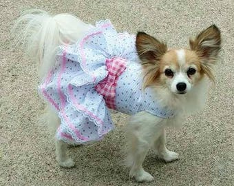 Dog Dress, Dog Harness Dress, Dog Fashion for Small Dog, Summer Dress for Dogs, Ruffle Dress, Handmade, Custom Dog Dress, Rose Bud, Pink