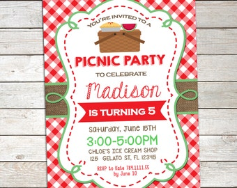 Picnic Birthday Invitation , Summer Birthday Invitation,Printable Picnic  Birthday,BBQ Picnic Invitation,