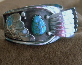 Native American Sterling Silver Watch Cuff with Turquoise