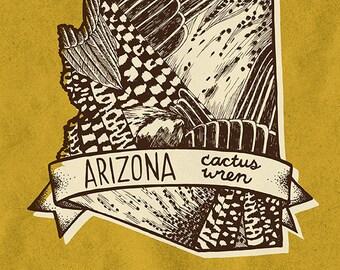 Arizona State Bird Print- Cactus Wren, 8x10 inches.