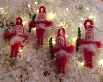 Vintage Clay~Faced Chenille Santa Claus Ornaments/Chenille Santa Claus Ornaments/Vintage Christmas Ornaments/Vintage Feather Tree Ornaments