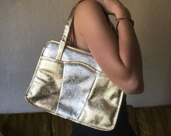 Gold and silver statement bag