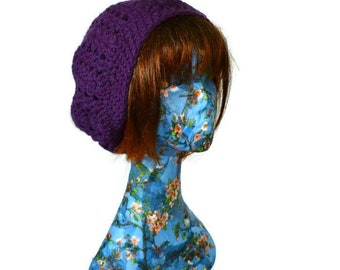 Purple Beanie, Purple Crochet Hat, Deep Purple Slouch Hat, Purple Winter Hat, Gifts for Sisters, Acrylic Hat, Vegan Hat, Handmade Beanie