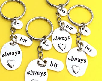 Best friends keychain - set of four, bff charm, 4 bff keychain, set of 4 best friend,customized keychain,monogram,initial keychain, bff gift