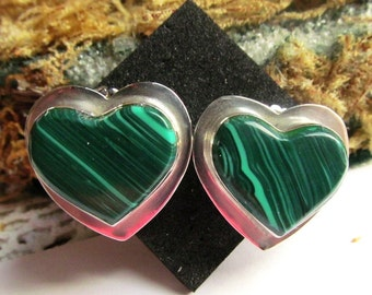Vintage Taxco Mexican Sterling Silver Malachite Heart Earrings