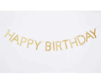 birthday banner, happy birthday sign, gold birthday banner, happy birthday, glitter banner, birthday bunting, birthday banner gold