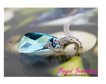 Crystal Wing Pendant With Swarovski Crystal Elements Necklace Gold Plated Jewellery By Angel Jewellery